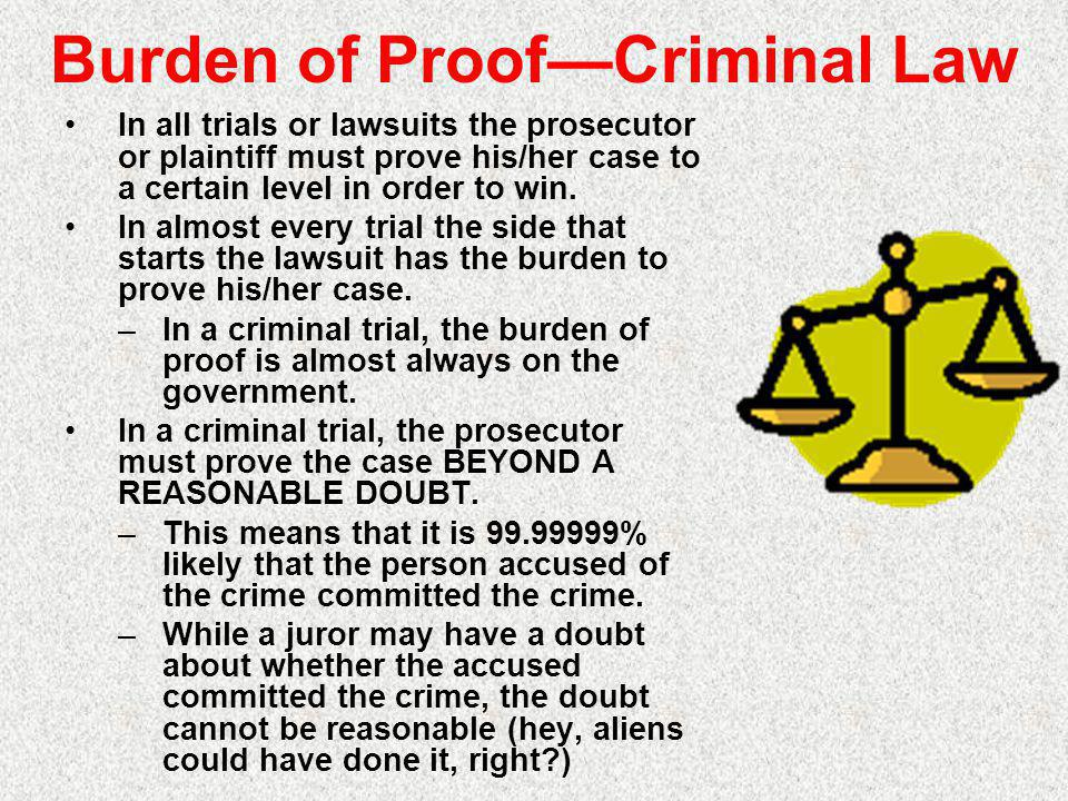 Burden of Proof—Criminal Law In all trials or lawsuits the prosecutor or plaintiff must prove his/her case to a certain level in order to win.