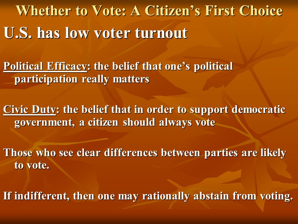 Whether to Vote: A Citizen's First Choice U.S. has low voter turnout Political Efficacy: the belief that one's political participation really matters