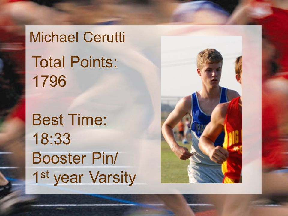 Michael Cerutti Total Points: 1796 Best Time: 18:33 Booster Pin/ 1 st year Varsity