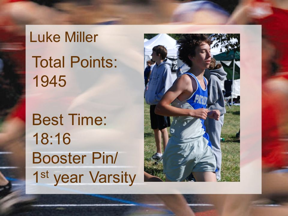 Luke Miller Total Points: 1945 Best Time: 18:16 Booster Pin/ 1 st year Varsity