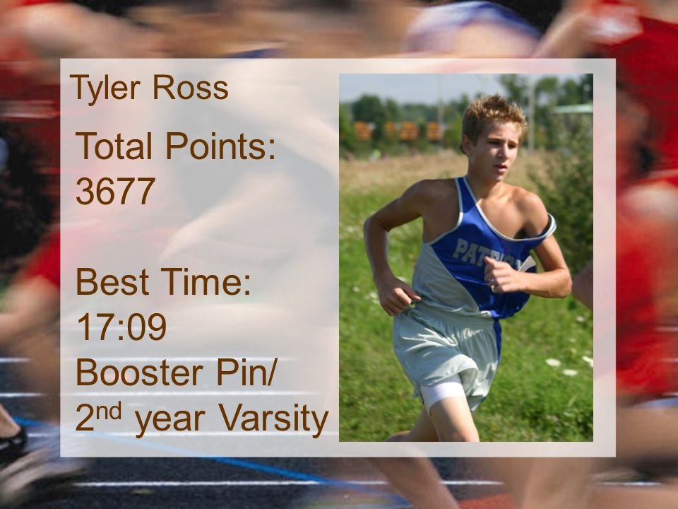 Tyler Ross Total Points: 3677 Best Time: 17:09 Booster Pin/ 2 nd year Varsity