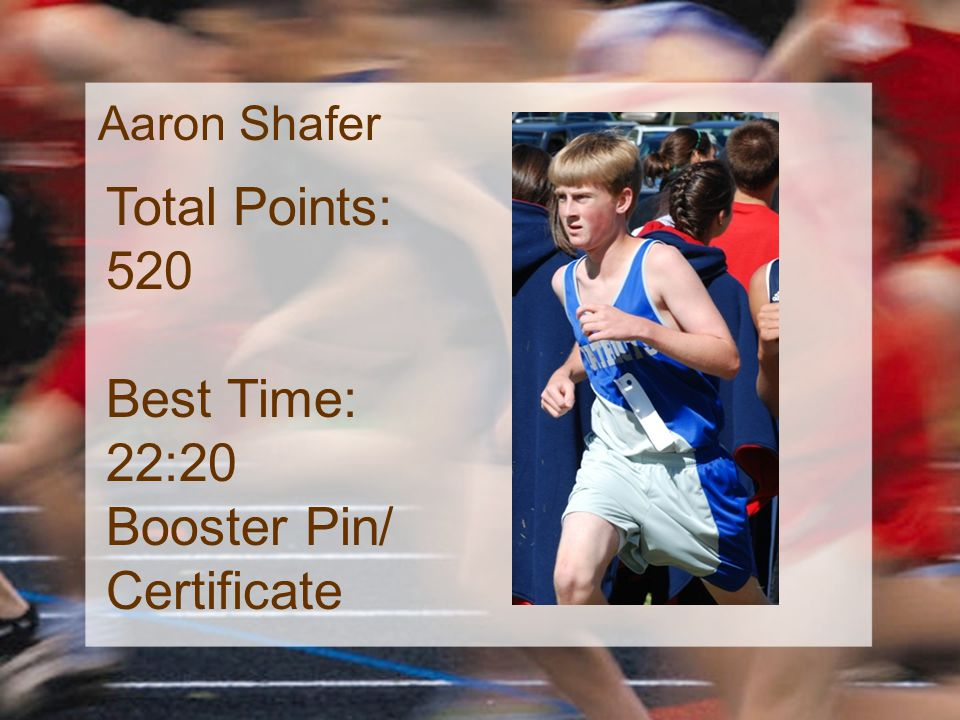 Aaron Shafer Total Points: 520 Best Time: 22:20 Booster Pin/ Certificate