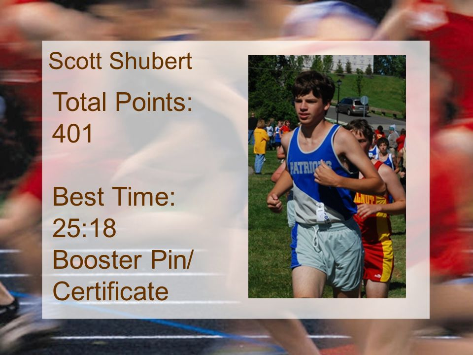 Scott Shubert Total Points: 401 Best Time: 25:18 Booster Pin/ Certificate