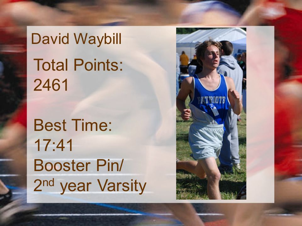 David Waybill Total Points: 2461 Best Time: 17:41 Booster Pin/ 2 nd year Varsity