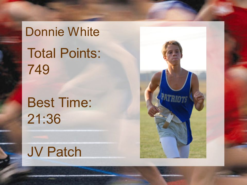 Donnie White Total Points: 749 Best Time: 21:36 JV Patch