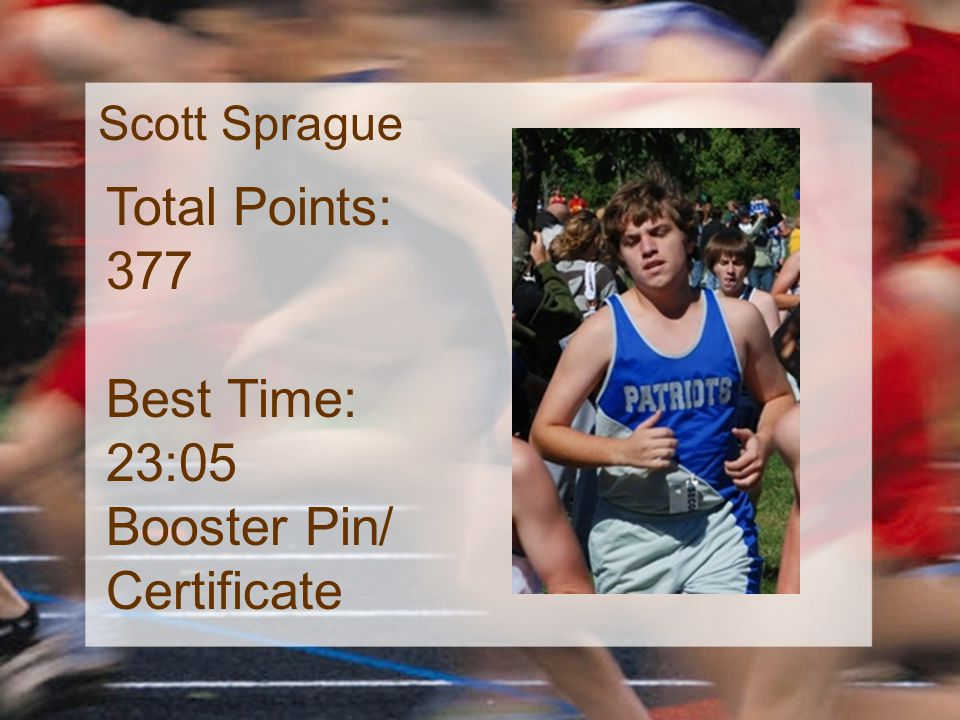 Scott Sprague Total Points: 377 Best Time: 23:05 Booster Pin/ Certificate