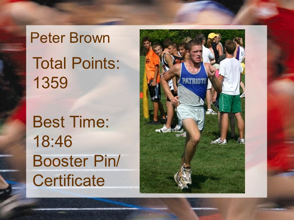 Peter Brown Total Points: 1359 Best Time: 18:46 Booster Pin/ Certificate