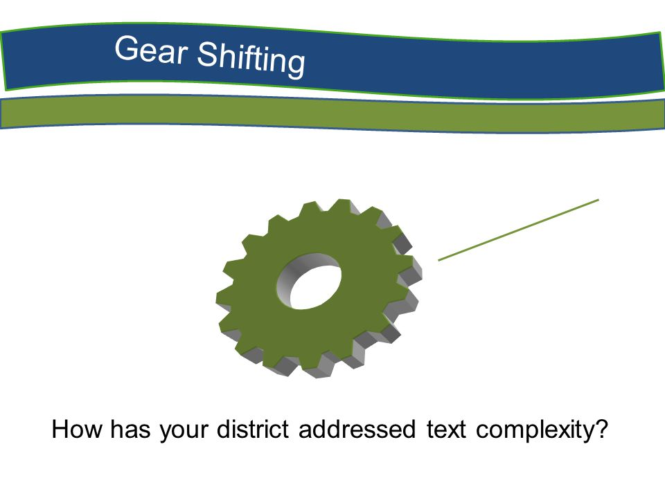 Gear Shifting How has your district addressed text complexity?