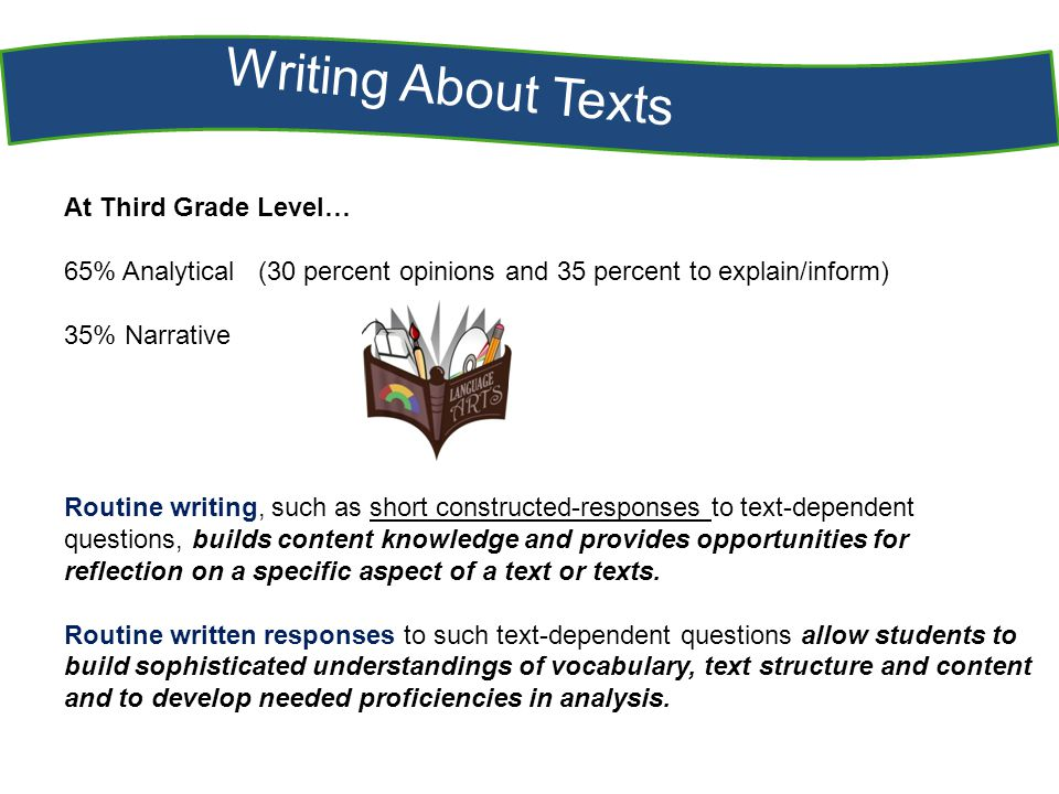 Writing About Texts At Third Grade Level… 65% Analytical (30 percent opinions and 35 percent to explain/inform) 35% Narrative Routine writing, such as short constructed-responses to text-dependent questions, builds content knowledge and provides opportunities for reflection on a specific aspect of a text or texts.