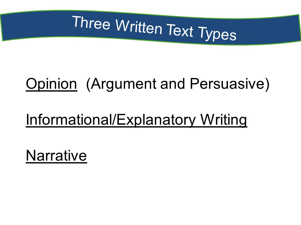 Three Written Text Types Opinion (Argument and Persuasive) Informational/Explanatory Writing Narrative