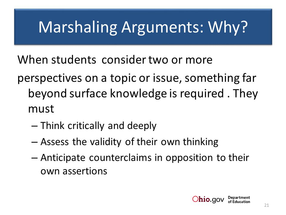 Marshaling Arguments: Why.