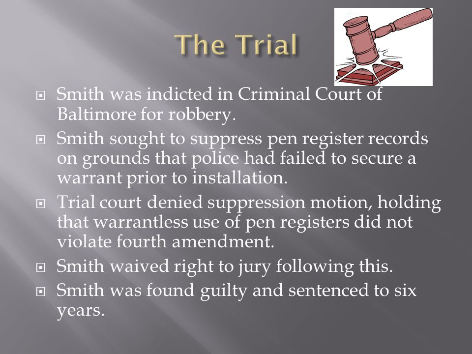  Smith was indicted in Criminal Court of Baltimore for robbery.