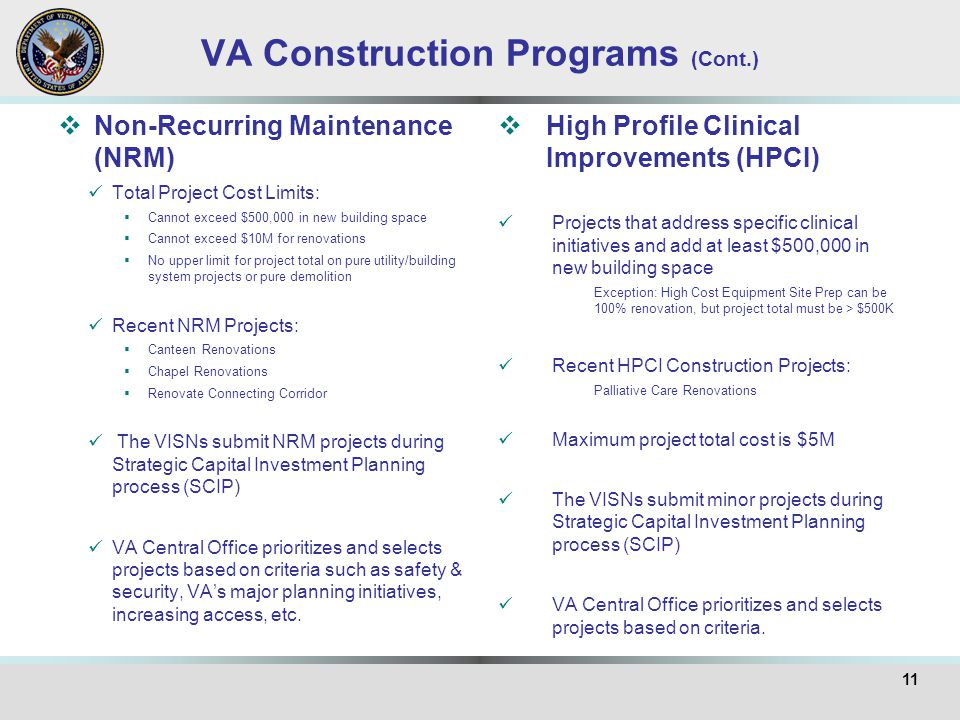VA Construction Programs (Cont.)  Non-Recurring Maintenance (NRM) Total Project Cost Limits:  Cannot exceed $500,000 in new building space  Cannot