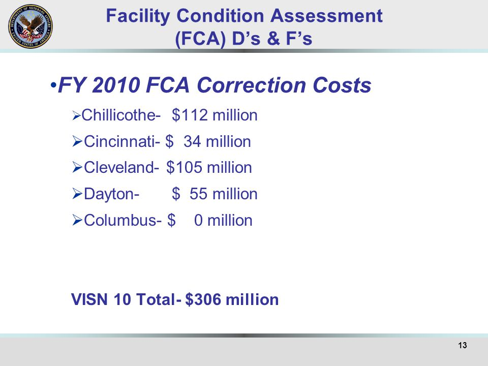 Facility Condition Assessment (FCA) D's & F's FY 2010 FCA Correction Costs  Chillicothe- $112 million  Cincinnati- $ 34 million  Cleveland- $105 million  Dayton- $ 55 million  Columbus- $ 0 million VISN 10 Total- $306 million 13
