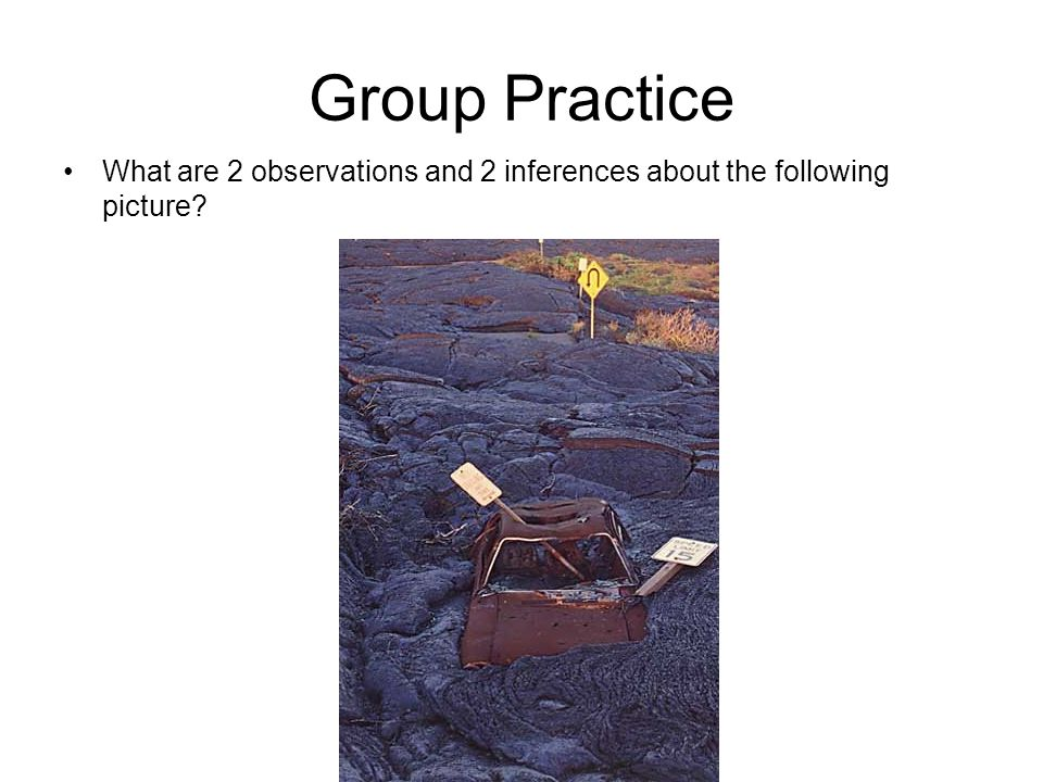 Group Practice What are 2 observations and 2 inferences about the following picture?