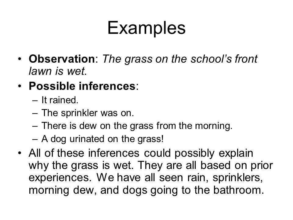 Examples Observation: The grass on the school's front lawn is wet. Possible inferences: –It rained. –The sprinkler was on. –There is dew on the grass