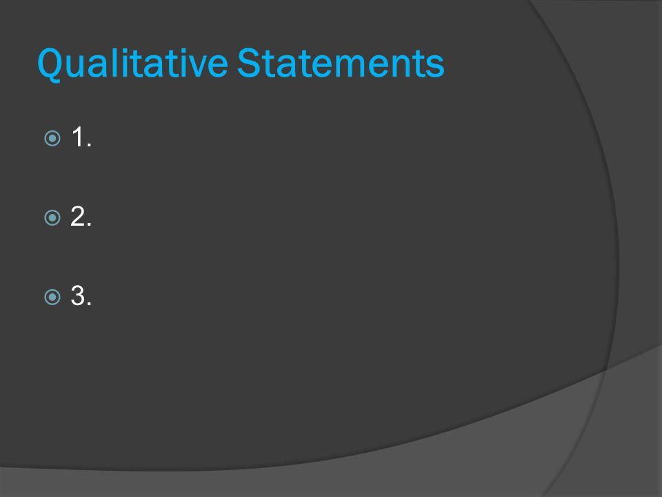 Qualitative Statements  1.  2.  3.