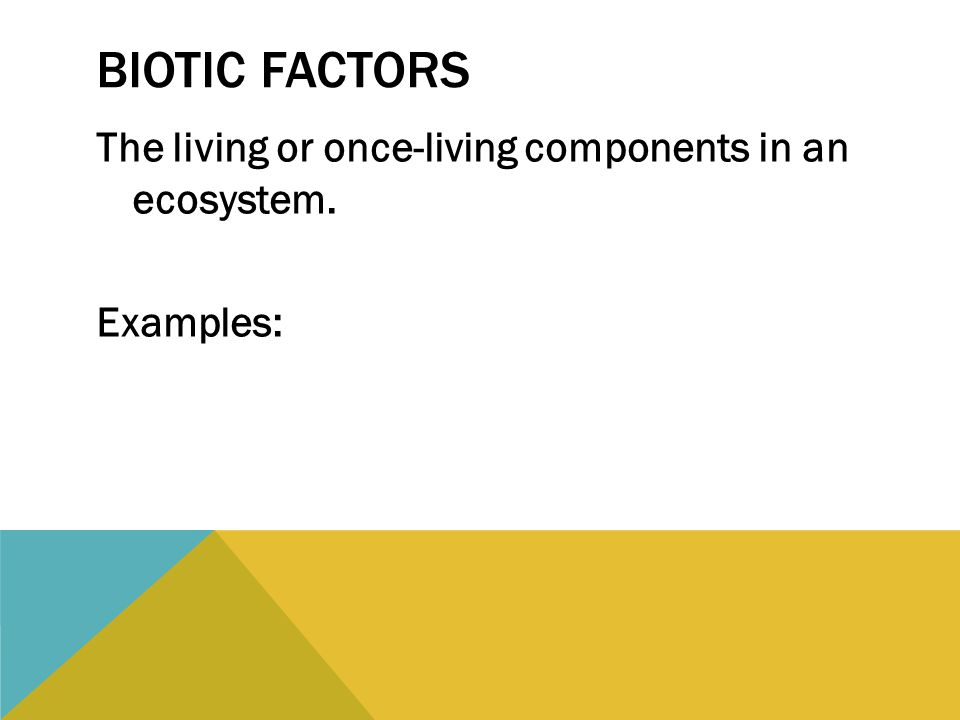 BIOTIC FACTORS The living or once-living components in an ecosystem. Examples: