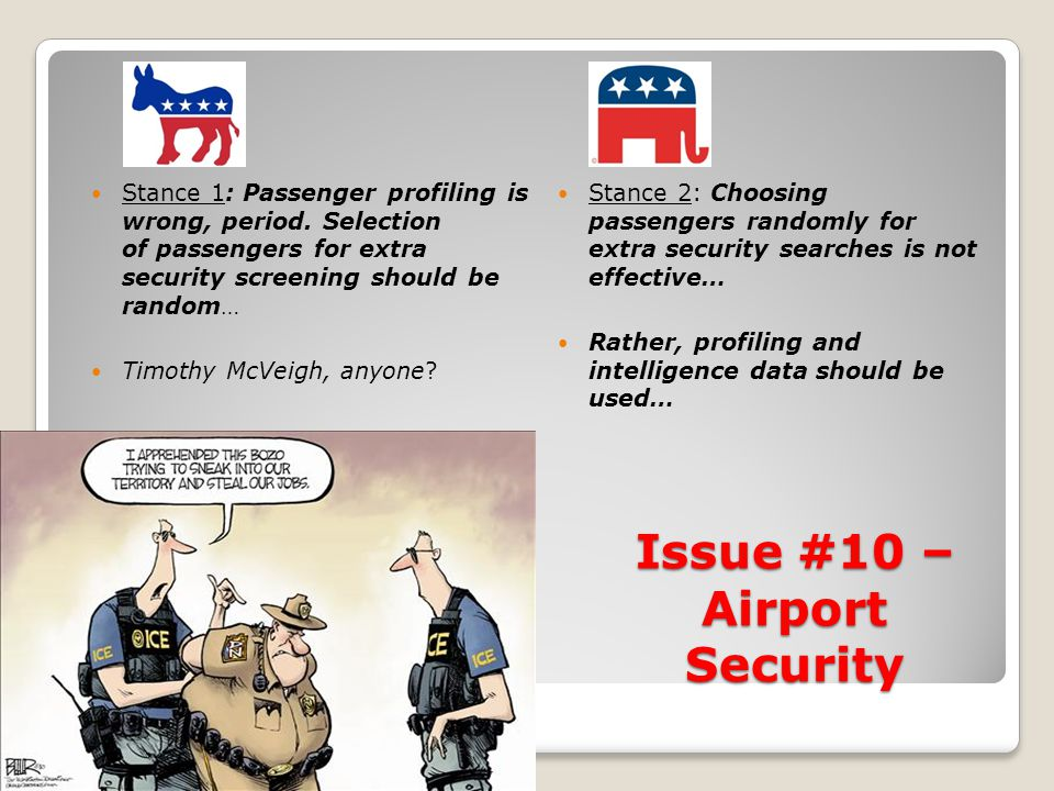 Issue #10 – Airport Security Stance 1: Passenger profiling is wrong, period.