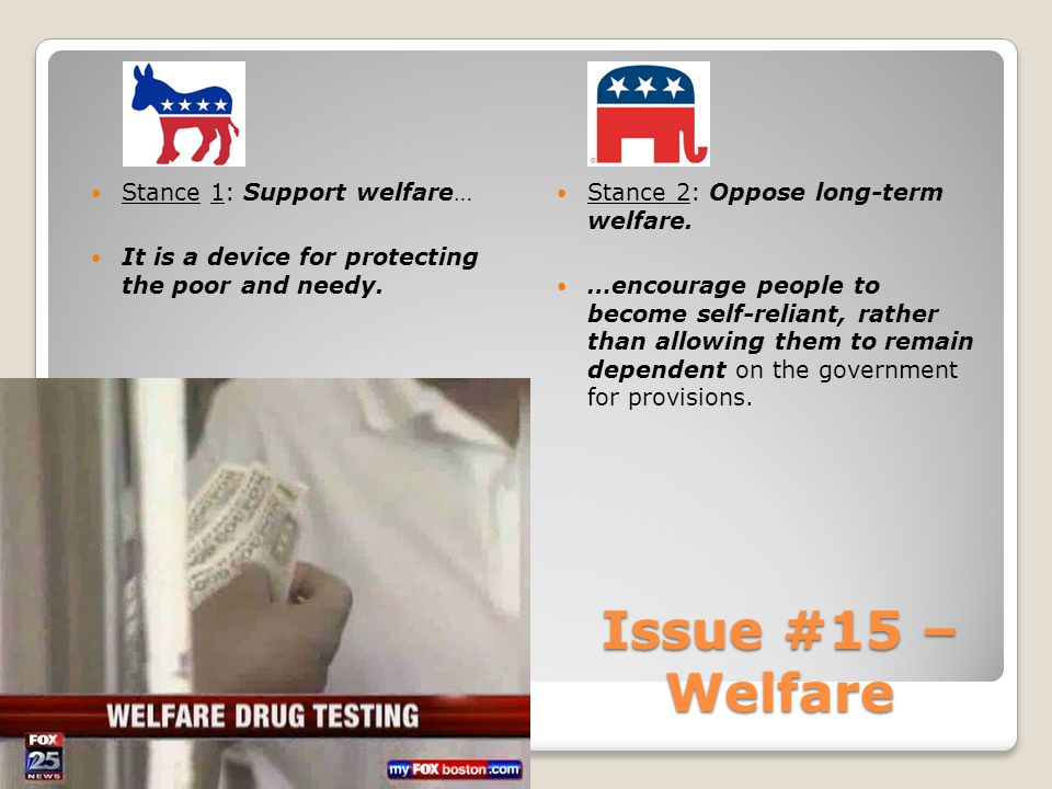 Issue #15 – Welfare Stance 1: Support welfare… It is a device for protecting the poor and needy.
