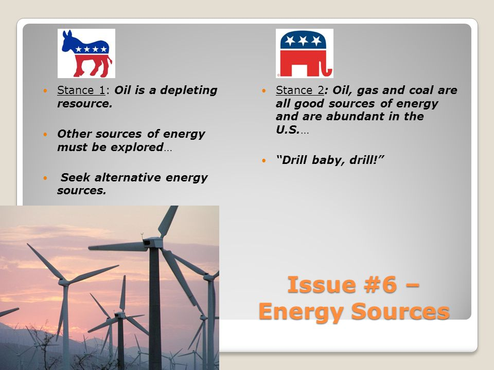 Issue #6 – Energy Sources Stance 1: Oil is a depleting resource.