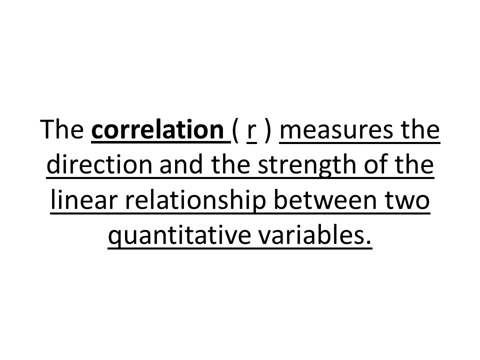The formula for correlation of variables x and y for n individuals is: TI 83/84 Put data into 2 lists STAT CALC 8:LinReg(a+bx) *If r does not appear: 2 nd 0 (Catalog) Scroll to Diagnostic On Press ENTER twice