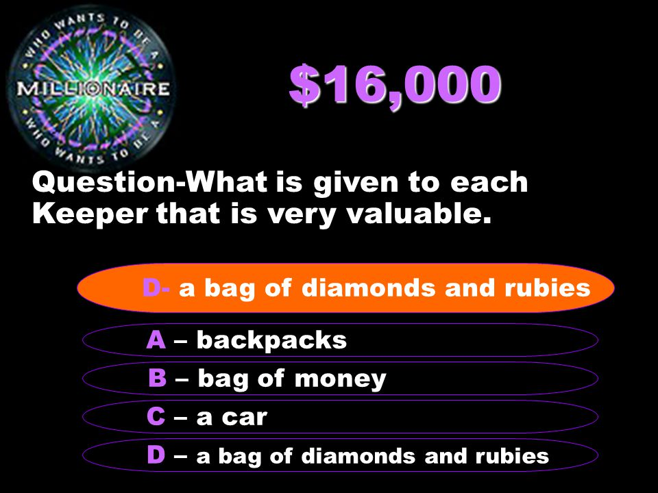 $16,000 Question-What is given to each Keeper that is very valuable.