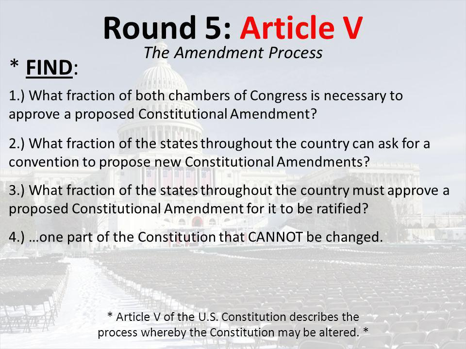 Round 6: Article VI The Federal Government 1.) What does the Constitution say about which law shall predominate if there in any conflict between federal and state laws.