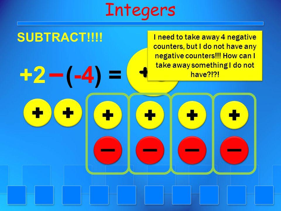 Integers SUBTRACT!!!! +3 +6+6 (-3) =