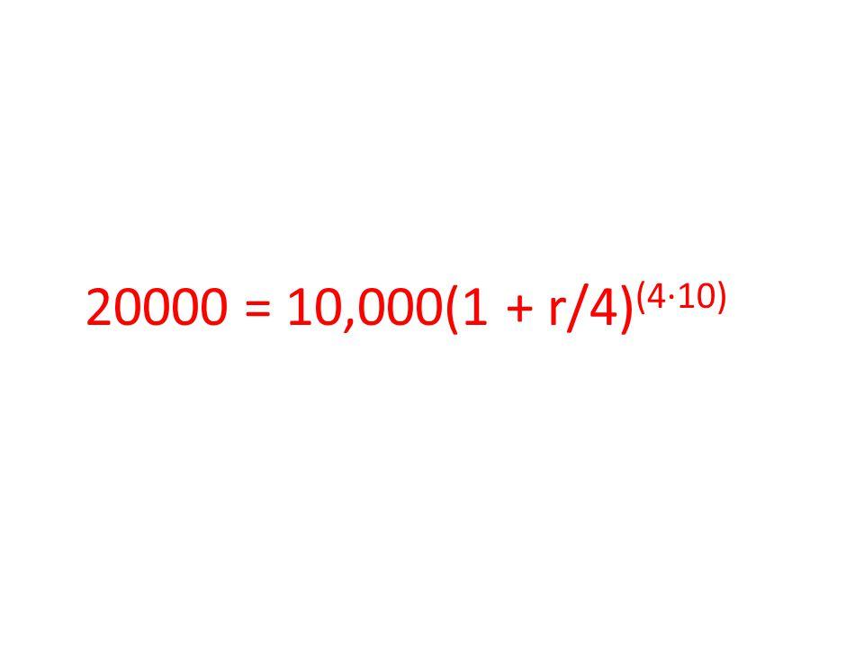 20000 = 10,000(1 + r/4) (4∙10)