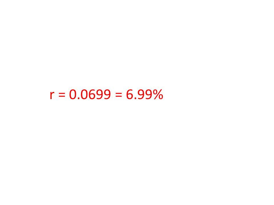 r = 0.0699 = 6.99%