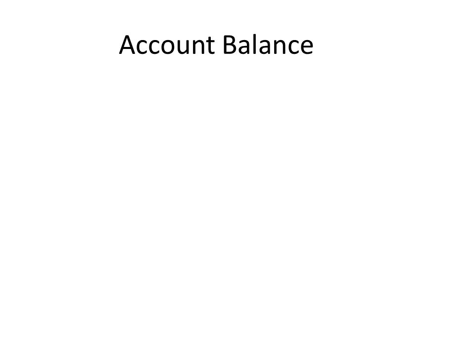 Amount of money in the account at a given time