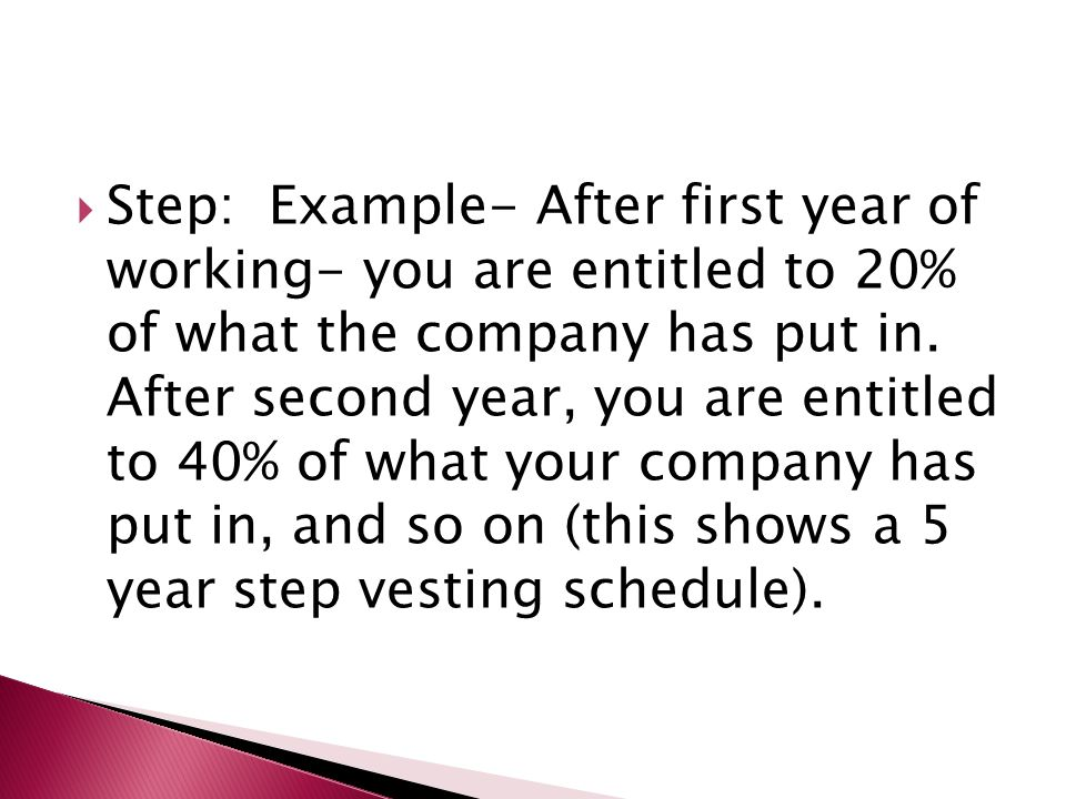  Step: Example- After first year of working- you are entitled to 20% of what the company has put in.