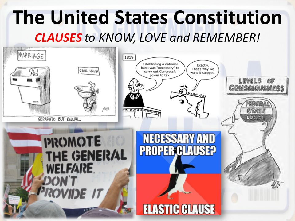 The United States Constitution CLAUSES to KNOW, LOVE and REMEMBER!