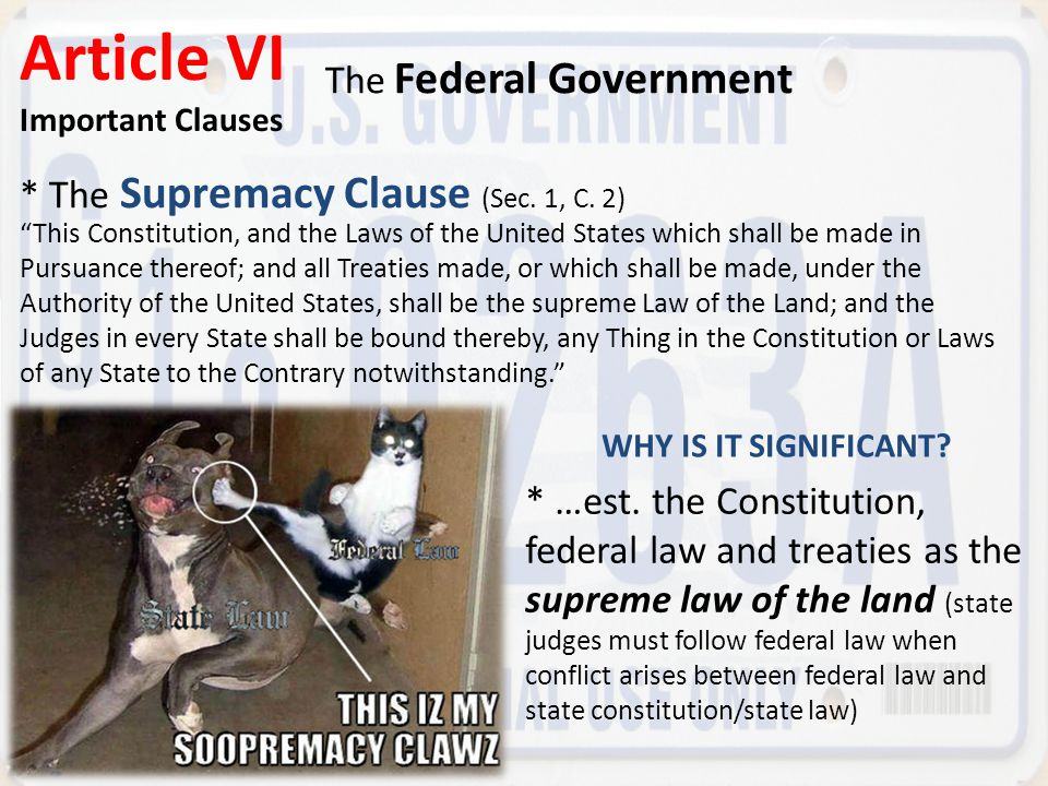 "* The Supremacy Clause (Sec. 1, C. 2) Article VI Important Clauses The Federal Government ""This Constitution, and the Laws of the United States which"
