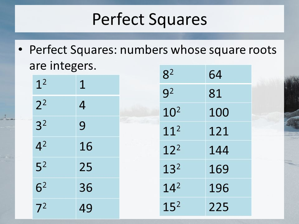 Perfect Squares Perfect Squares: numbers whose square roots are integers.