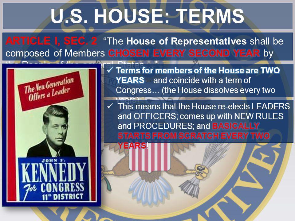 U.S. HOUSE: TERMS