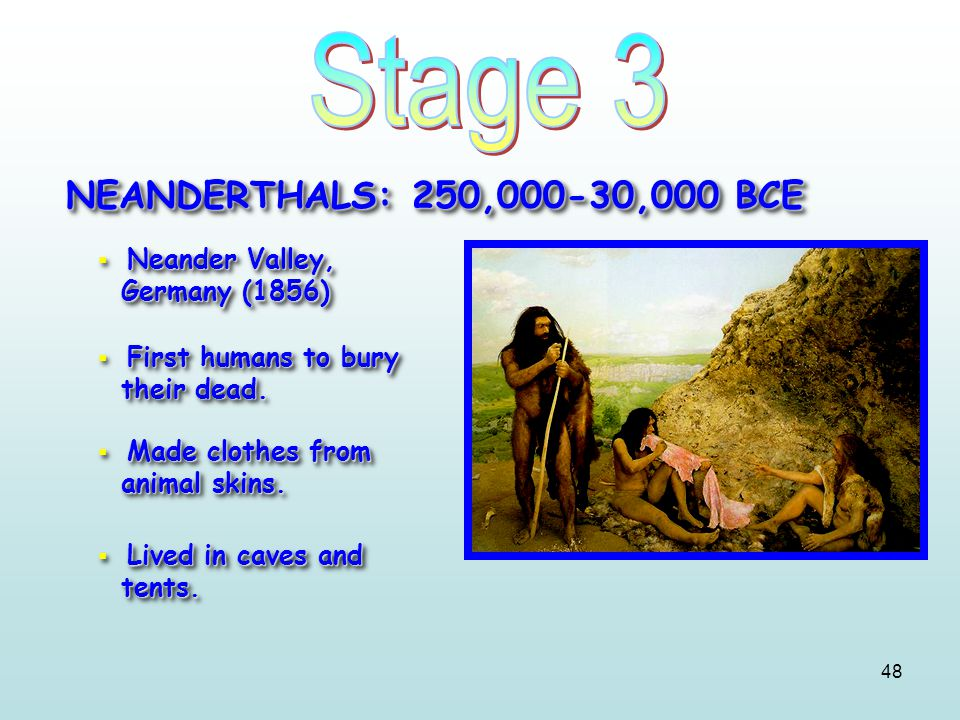 48 NEANDERTHALS: 250,000-30,000 BCE Neander Valley, Germany (1856)  Neander Valley, Germany (1856) First humans to bury their dead.  First humans to