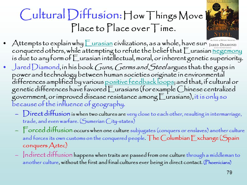 79 Cultural Diffusion: How Things Move From Place to Place over Time. Attempts to explain why Eurasian civilizations, as a whole, have survived and co