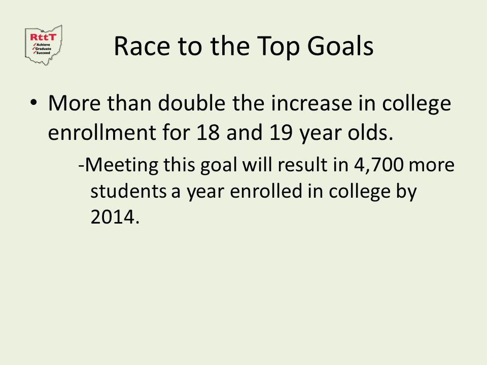 Race to the Top Goals More than double the increase in college enrollment for 18 and 19 year olds.