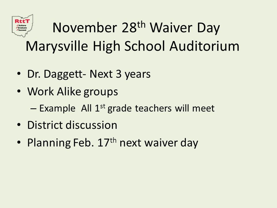 November 28 th Waiver Day Marysville High School Auditorium Dr.