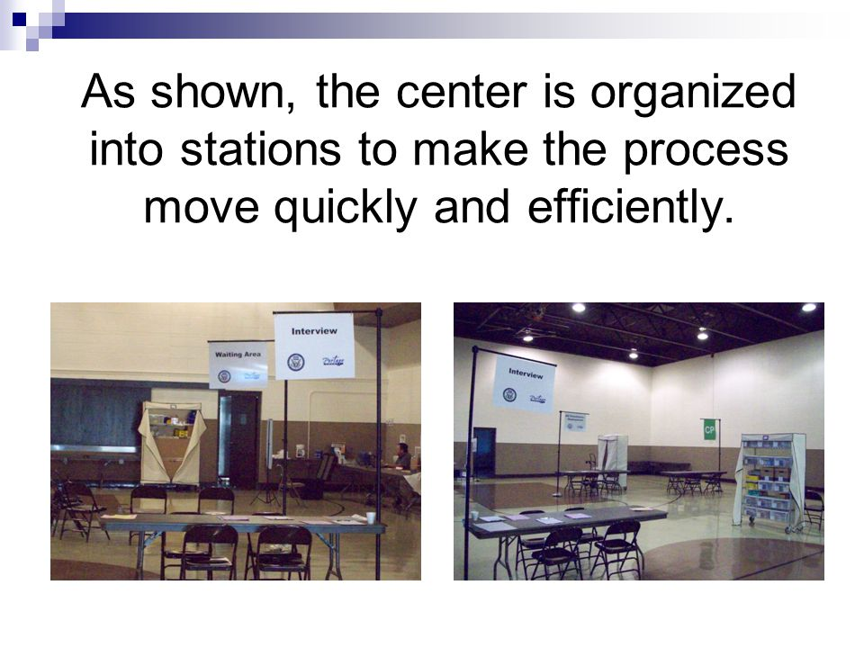 As shown, the center is organized into stations to make the process move quickly and efficiently.