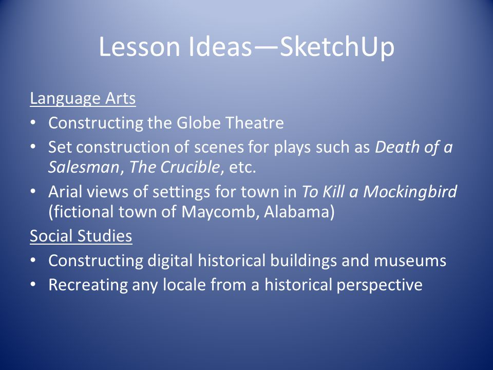 Lesson Ideas—SketchUp Language Arts Constructing the Globe Theatre Set construction of scenes for plays such as Death of a Salesman, The Crucible, etc