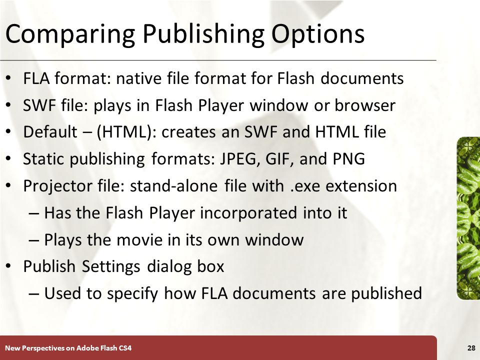 XP Comparing Publishing Options FLA format: native file format for Flash documents SWF file: plays in Flash Player window or browser Default – (HTML): creates an SWF and HTML file Static publishing formats: JPEG, GIF, and PNG Projector file: stand-alone file with.exe extension – Has the Flash Player incorporated into it – Plays the movie in its own window Publish Settings dialog box – Used to specify how FLA documents are published New Perspectives on Adobe Flash CS428
