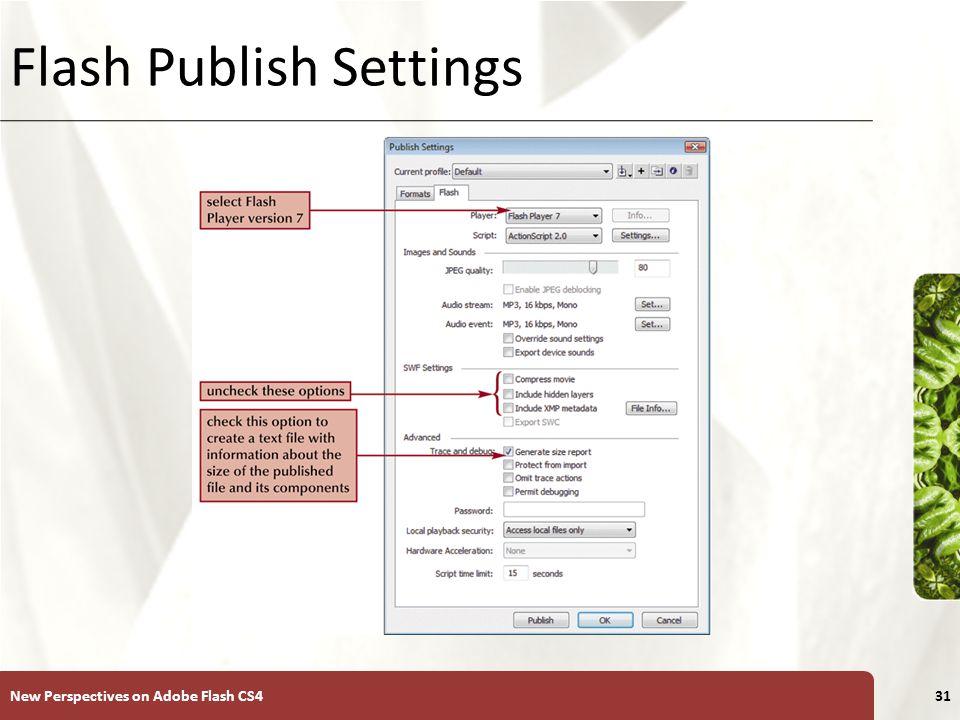 XP Flash Publish Settings New Perspectives on Adobe Flash CS431