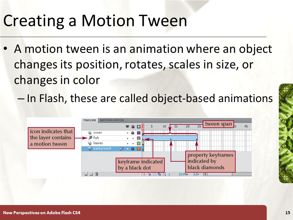 XP Creating a Motion Tween A motion tween is an animation where an object changes its position, rotates, scales in size, or changes in color – In Flash, these are called object-based animations New Perspectives on Adobe Flash CS415