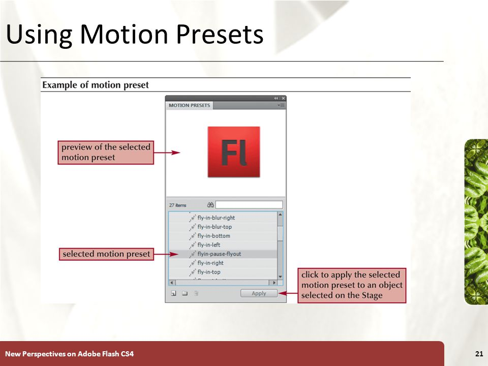 XP Using Motion Presets New Perspectives on Adobe Flash CS421