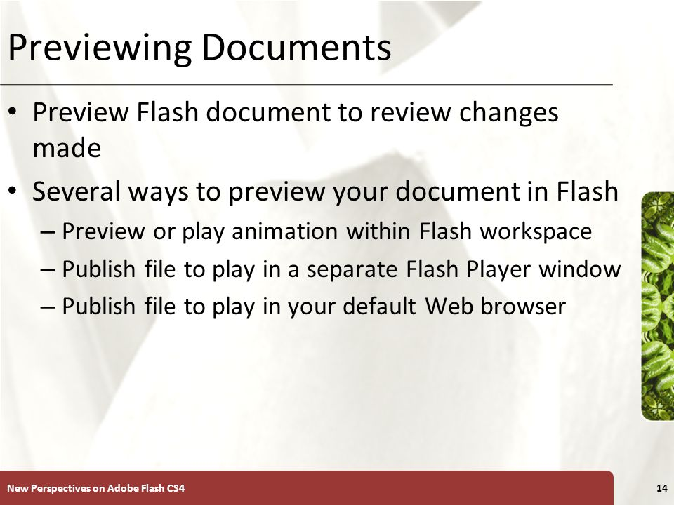 XP Previewing Documents Preview Flash document to review changes made Several ways to preview your document in Flash – Preview or play animation within Flash workspace – Publish file to play in a separate Flash Player window – Publish file to play in your default Web browser New Perspectives on Adobe Flash CS414