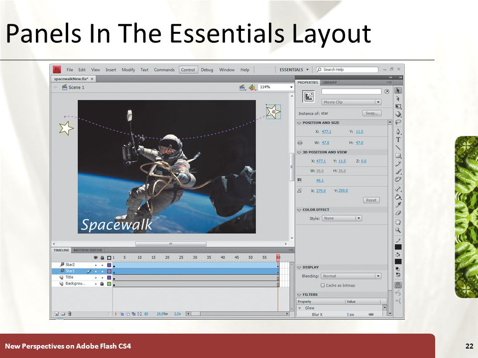 XP Panels In The Essentials Layout New Perspectives on Adobe Flash CS422
