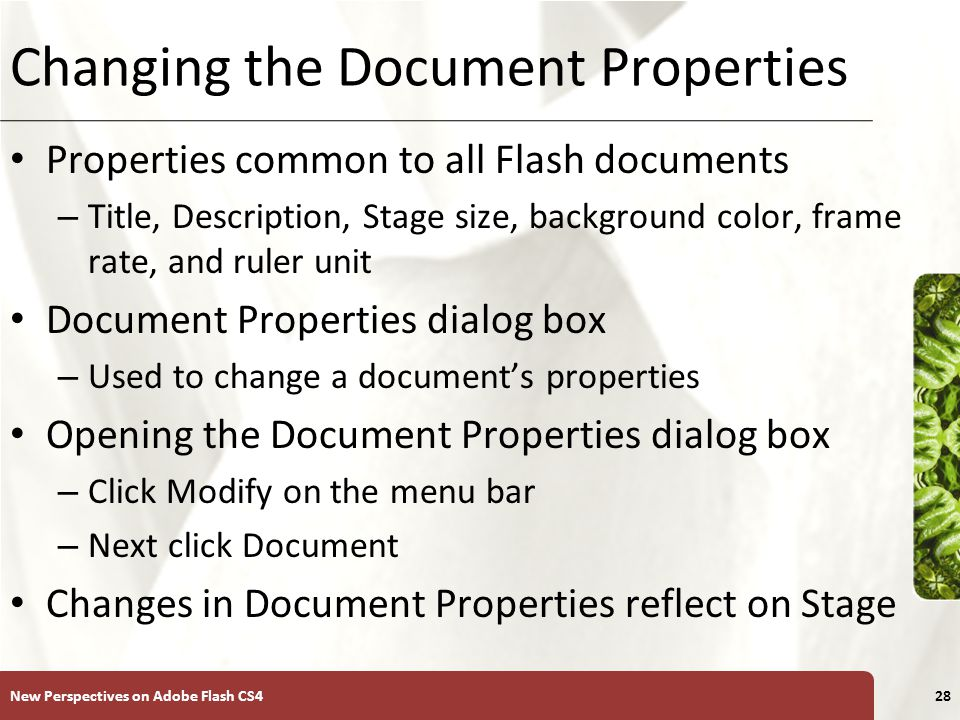 XP Changing the Document Properties Properties common to all Flash documents – Title, Description, Stage size, background color, frame rate, and ruler unit Document Properties dialog box – Used to change a document's properties Opening the Document Properties dialog box – Click Modify on the menu bar – Next click Document Changes in Document Properties reflect on Stage New Perspectives on Adobe Flash CS428